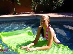Spy on you neighbors Naked Daughter swimming Nude and Playing in the Pool