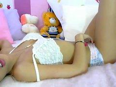 Babe spivi se stessa diteggiatura su webcam