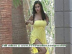 Alexa Loren naughty busty brunette woman getting naked and posing