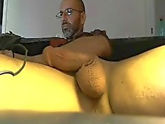Old paki guy strokes his big cock