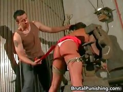 Sun Tanned babe getting bondage slapping part5