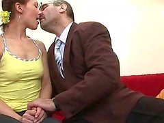 Threesome lesson with old teacher