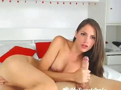 Handjob and blowjob fun for pretty brunette
