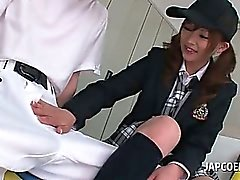 Tempting asian college girl blows penis in the locker room
