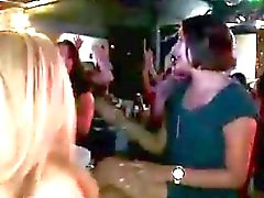 Cute amateur girls suck stripper cock at party