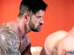 Tattoo gay double penetration with creampie