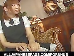 Runna Sakai naughty Asian waitress gets legs spread for pussy play