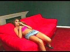 Cute brunette squirting machine gets squirting