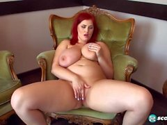 Sexy Russian Redhead BBW w Huge Natural Tits Strips Red Bra and Masturbates