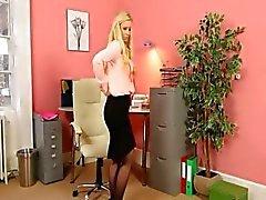 Blonde secretary in stockings strip