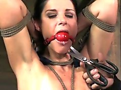 Nipple punished hot sub milf tied up