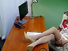 Milf nurse fucks in hospital office