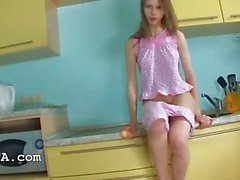 Pussy fingering and vibrating in kitchen