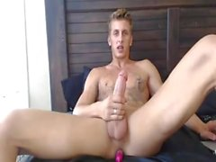 Horny Blonde Monster Enjoying Anal Vibrator While Jerking Off