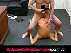 Blonde on casting couch gets naked and eats and bangs cock