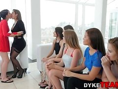 Milf and teen in les orgy