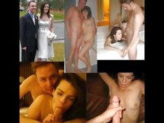 'brides wedding dress before during after compilation cuckold facial cumshot'
