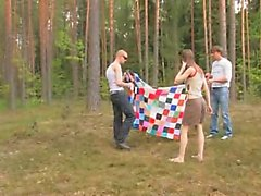 Amateur german threesome in the forest
