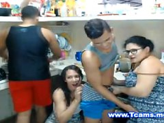 Tranny Kitchen Action wit Dudes and BBW