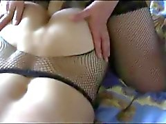 Russian wife fucks her husband's big strapon