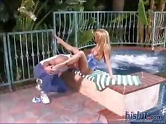 Blonde hottie Jessica Drake gets licked and fucked outdoors