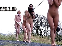 Three teen blonde slaves exploited in dungeon