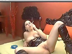 Hot Brunette Smoking & Toying On Cam