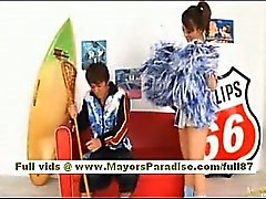 Risa Tsukino Asian girl in cheerleader gets licked