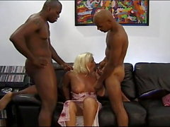 Finnish blonde gets fucked by two black cocks