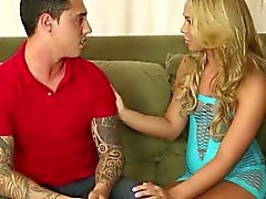 Very slim masseuse Katerina Kay handjobs dick and milks it