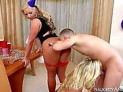 New year party with busty blondes Phoenix Marie and Sienna