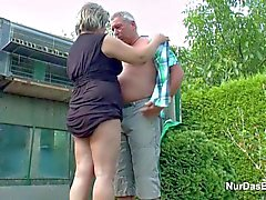 German Grandpa and Grandma fuck in Garden