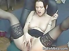 Hot brunette babe smokes part6
