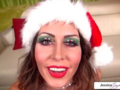 Naughty elf Jessica Jaymes sucking santas monster cock, big tits & big butt