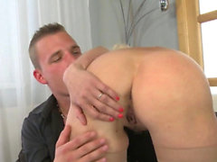 Blonde hottie pleases his big cock