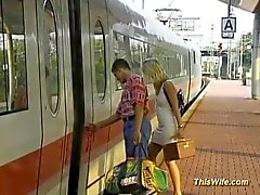 Train fucking with nasty german wife