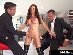 Penthouse Pet Nikki Benz Sucks & Fucks 2 Big Cocks!