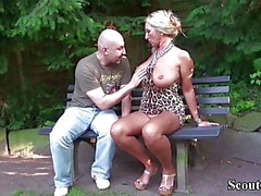 Deutsch Big Tits MILF Seduce Stranger in Park to Fuck