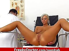 Beautiful slim blonde Nathaly Heaven vagina exam