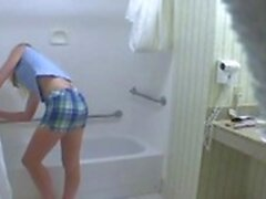 spying my 18 y. blonde stepsister in bathroom