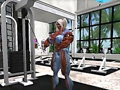 Muscle girl workout en Second Life
