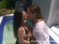 Pregnant amateur plays with her hot girlfriend outside