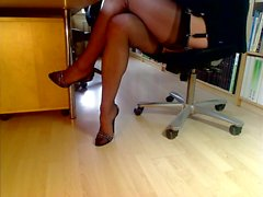 My legs in FF nylons and italian sandals