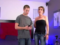 Horny big titty MILF fucks the cable guy