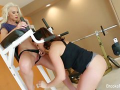 Work out between friends leads to some lesbian fun