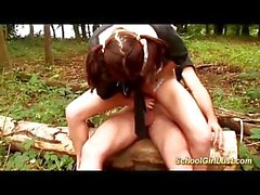young french schoolgirl anal banged in the woods