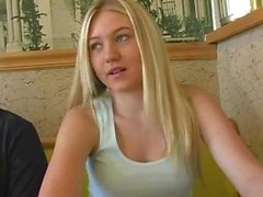 Alison Angel Flashing in Restaurant