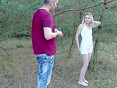Petite Teen Blonde Hardcore sex in forest with Stepdad