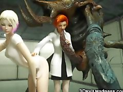 En 3D Alien Monsters Destroy Girls!