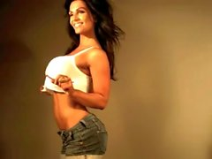 Denise Milani Sexy white Top - non nude